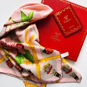 Vintage Must De Cartier Paris silk floral scarf